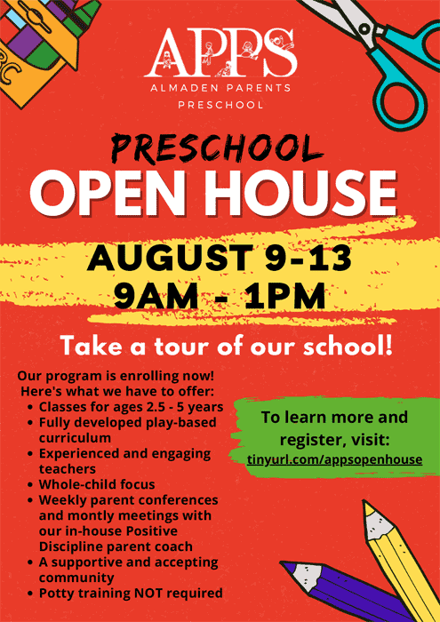 Visit the school August 9-13, 9 am to 1pm
